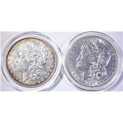 1884-O & 97 MORGAN DOLLARS, AU/BU
