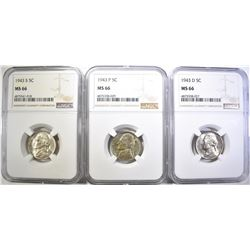 1943-P-D-S SILVER JEFFERSON NICKELS, NGC MS-66