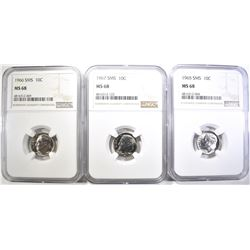 1965, 66 & 67 SMS ROOSEVELT DIMES, NGC MS-68