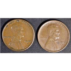 (2) LINCOLN CENTS  1913-S XF+ & 1924-S AU/BU  NICE