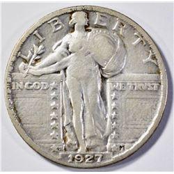 1927-S STANDING LIBETY QUARTER  VF+