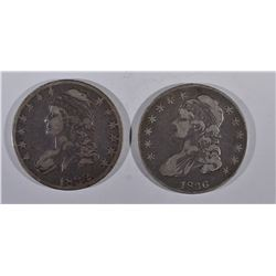 1832 VF AND 36 F CAPPED BUST HALF DOLLAR