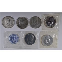 (6) COINS: 1957,61,64 PROOF HALVES IN CELLO