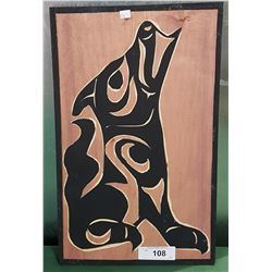 NATIVE CARVED WOOD PLAQUE SIGNED