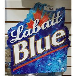 "LABATT BLUE EMBOSSSED TIN SIGN APPROX 15.5"" X 17"""