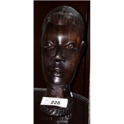 CARVED IRON WOOD AFRICAN BUST