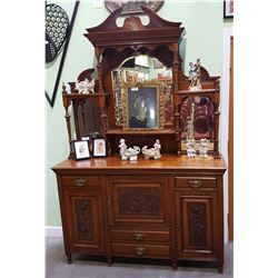 ANTIQUE CARVED SIDEBOARD WITH LARGE MIRRORED GALLERY