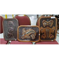 3 NATIVE CARVED WALL PLAQUES SIGNED