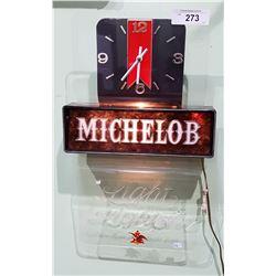 VINTAGE LIGHT UP MICHELOBE BAR CLOCK