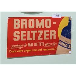 VINTAGE 1940'S BROMO-SELTZER CARDBOARD TROLLEY SIGN