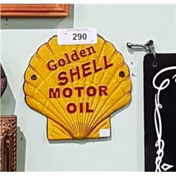 CAST IRON GOLDEN SHELL MOTOR OIL SIGN