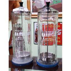 2 VINTAGE BARBICIDE BARBOURS JARS