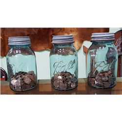 3 BLUE GLASS BALL SEALER JARS WITH PENNY
