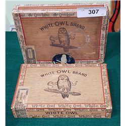2 VINTAGE WHITE OWL WOOD CIGAR BOXES