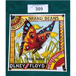 BUTTERFLY BRAND BEANS PORCELAIN SIGN