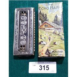 VINTAGE HOHNER THE ECHO HARP HARMONICA IN BOX