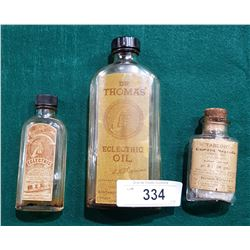 3 EARLY 1900'S  MEDICINE BOTTLES