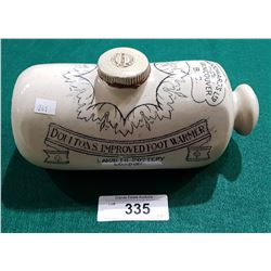 1890'S DOULTON LAMBETH FOOTWARMER FROM WOODWARD'S OF VANCOUVER, BC