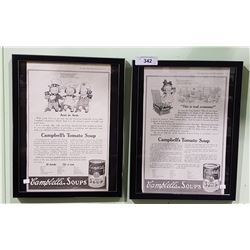 1917 AND 1919 CAMBELLS SOUP ADS FRAMED