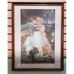 FRAMED PEARS PRINT OF CHILDREN AND A DOG