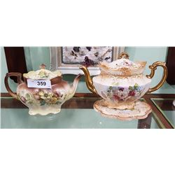 2 VICTORIAN HAND PAINTED TEAPOTS