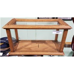 OAK AND GLASS DISPLAY CASE