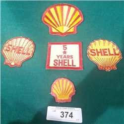 5 VINTAGE SHELL OIL PATCHES