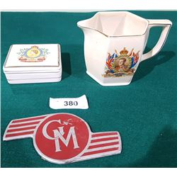 2 VINTAGE ROYALTY WARE PIECES AND GM LICENSE PLATE TOPPER