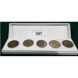 5 CANADIAN SILVER DOLLARS