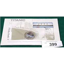 CANADA POST AND ROYAL CANADIAN MINT TITANIC COMMEMORATIVE DAY OF ISSUE STAMP AND $.25 COIN