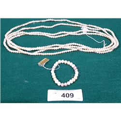 MATCHING GENUINE FRESH WATER PEARL NECKLACE AND BRACLET SET