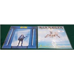 VINTAGE COLLECTIBLE ACDC AND IRON MAIDEN LP'S