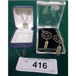 STERLING SILVER NATIVE PENDANT AND EARRINGS