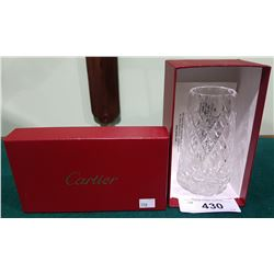 AUTHENTIC CARTIER CRYSTAL VASE WITH BOX AND COA