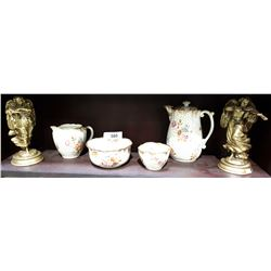 ANTIQUE 4 PC HAMMERSLEY TEA SET AND PAIR OF ANGELS