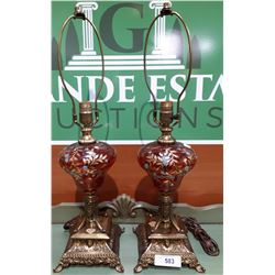 PAIR OF VINTAGE HAND PAINTED CRANBERRY GLASS LAMPS ON BRASS BASE