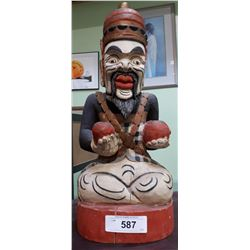 CARVED WOOD ASIAN STATUE
