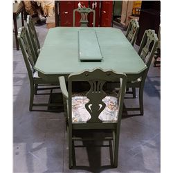 7 PC VINTAGE 1940'S TABLE AND CHAIR SET