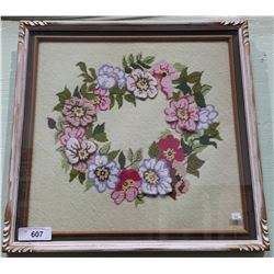 FRAMED FLORAL NEEDLEPOINT PICTURE