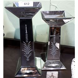 PAIR OF ETCHED MIRRORED CANDLE HOLDERS