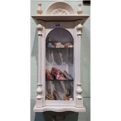 3 TIER WALL DISPLAY CABINET W/MINI COLLECTIBLE SHOES