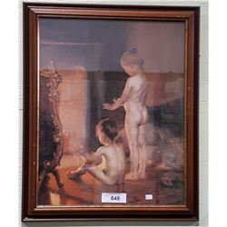 FRAMED PRINT OF CHILDREN WARMING THEMSELVES BY THE FIRE