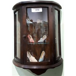 VINTAGE OAK CURVED GLASS WALL CABINET W/6 COLLECTIBLE SHOES
