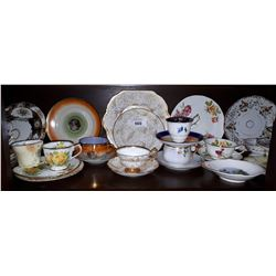 SHELF LOT OF COLLECTIBLE TEACUPS AND CHINA