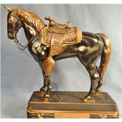 "Brass saddle horse, 15"" h x 13"" w,"