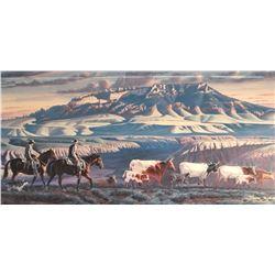 """Zabel, Larry framed print,  """"Early Start at Arrow Creek"""",471/650, 14"""" h x 28"""" w"""