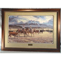 """Zabel, Larry framed print, """"New Calves & Old Friends"""",471/500, 21"""" x 34"""""""