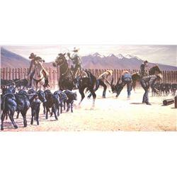 "Zabel, Larry framed print, ""Montana Black Gold"",471/650, 16"" x 32"" w"