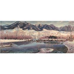 "Zabel, Larry framed print, ""Paradise Dressed in White"" (Giclee), 471/500, 16"" h x 34"" w"