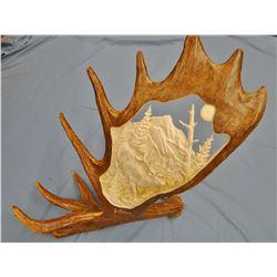 Carved moose horn, Elk, by Scott Hays